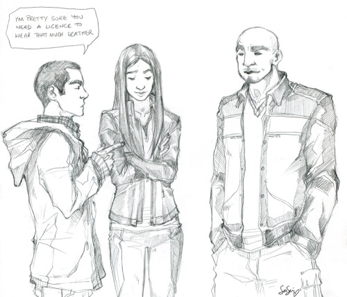 doomcheese:  I kind of want to see Deaton and Morrell start teaching Stiles all their mysterious, cool shit next season.   I'm going to have to draw leather!Stiles now aren't I?  Ah, the tragedy..