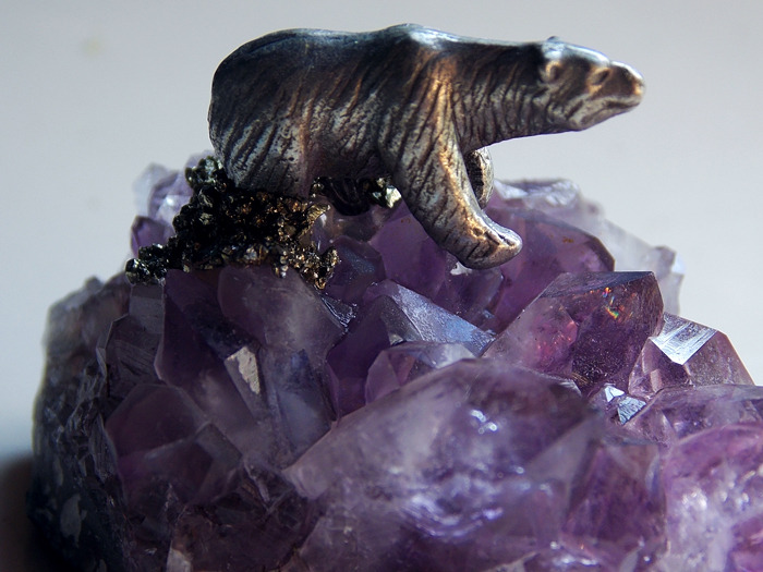 My New Etsy Item:Vintage Amethyst Crystal Cluster with Silver Bear on Marcasite **Free Shipping!**