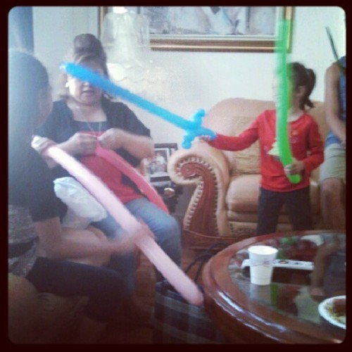 Auntie Alice and her balloon stuff haha. #sarahsbirthday #function (Taken with Instagram)