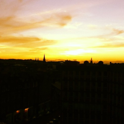 Epic sunset in Edinburgh. #wfc2012 #edfringe  (Taken with Instagram)