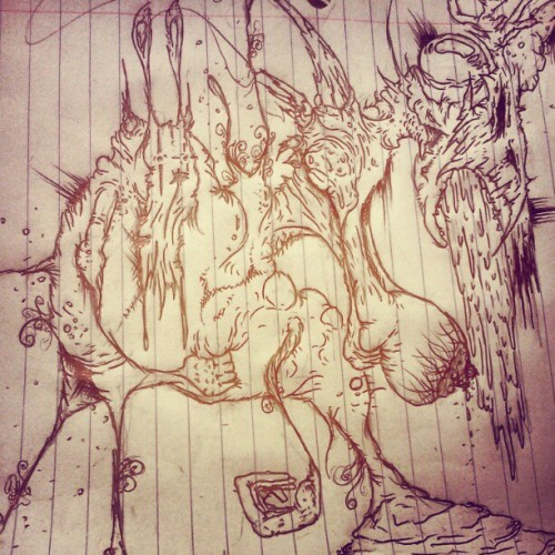 #monster #bunny #creepy #demon #death #darkart #art #scary #wierd #horns #evil #creature #gross  (Taken with Instagram)