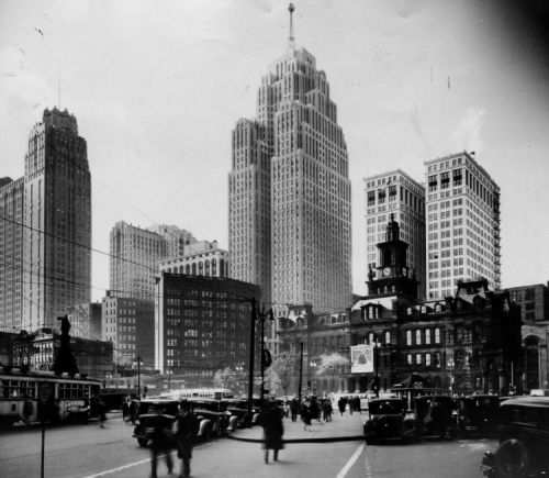 Campus Martius, Detroit, Michigan, January 2 1932.Have this exact same shot in my room.