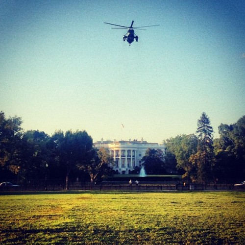 @BarackObama just landed at The White House! #POTUS #DC #whitehouse (Taken with Instagram at The White House)