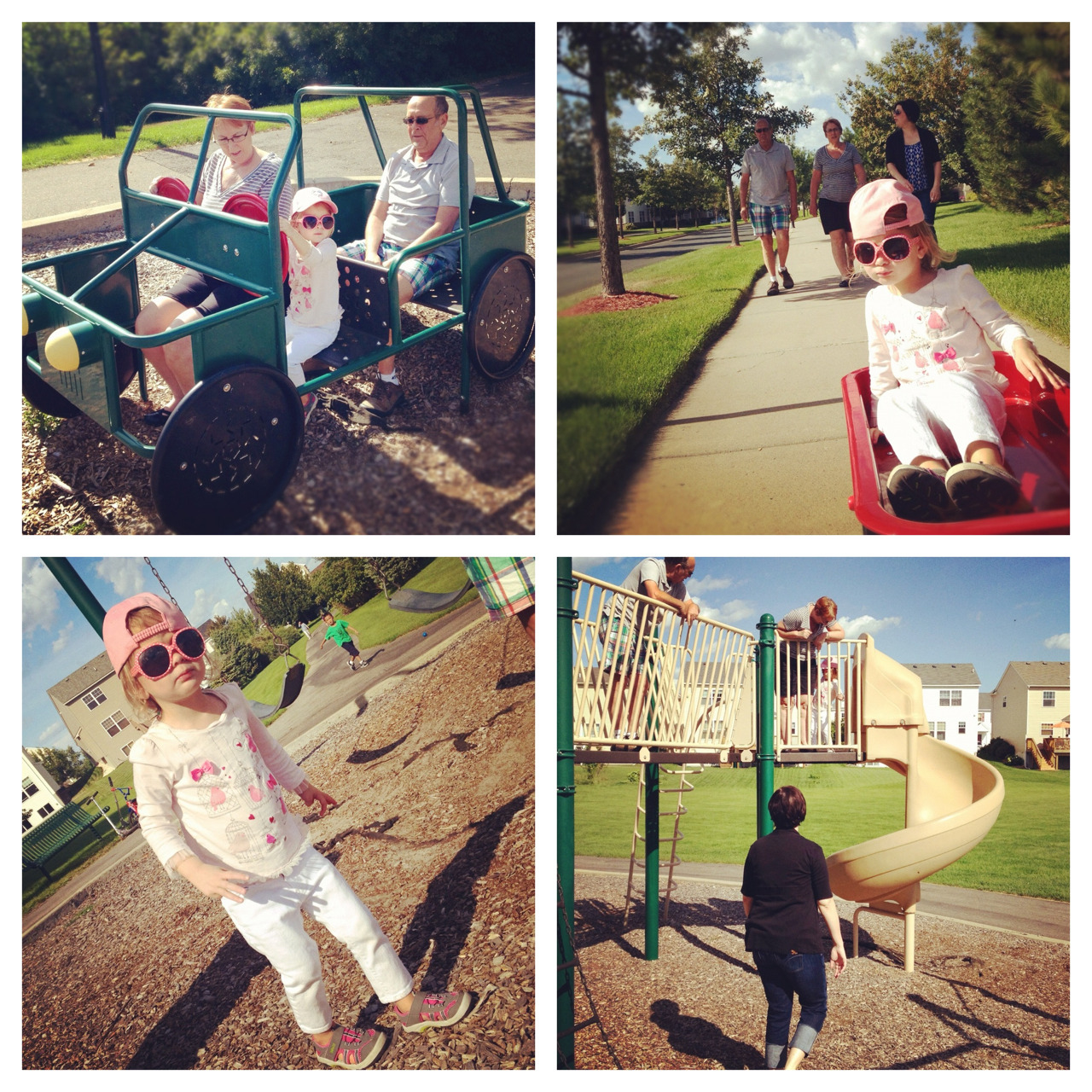 A walk in the wagon with Grandma, Grandpa, Mommy and Daddy on the way to the green playground.