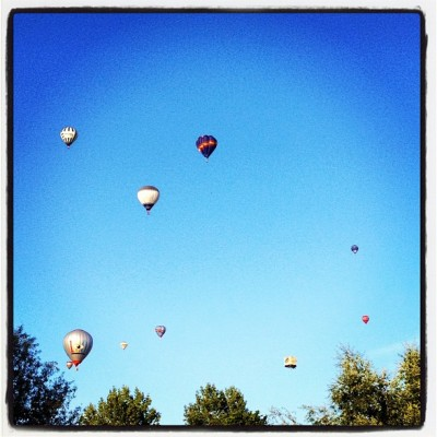 Beautiful colorful #hot-air #balloons in the #sky  (Taken with Instagram)