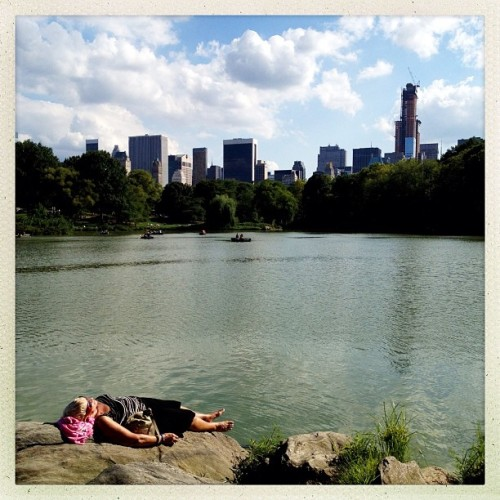 New York City, NY | August 18, 2012 Sunbathing in Central Park #photography #photojournalism #documentary #hipstamatic #nyc #centralpark #sunbathing #streetphotography #lake #summer  (Taken with Instagram at Central Park - Ladies Pavilion)