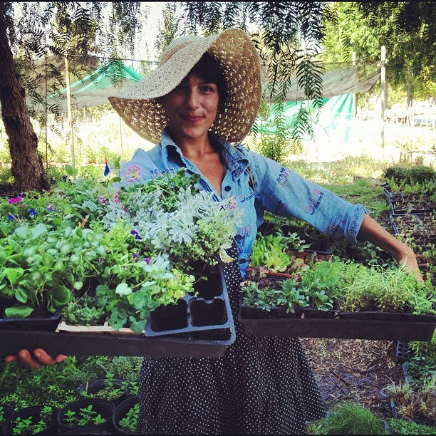 "Laila @gardenschoolLA rockin the #plugmob seedlings in the ""best hat of the day."" Viva Garden School Foundation's work at 24th St school. #sowingmillions #schoolgarden #flossin (Taken with Instagram at Muir Ranch)"