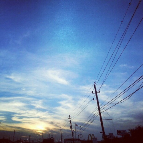 I know… another sky picture! #sky #sunset #skyporn #powerlines  (Taken with Instagram)