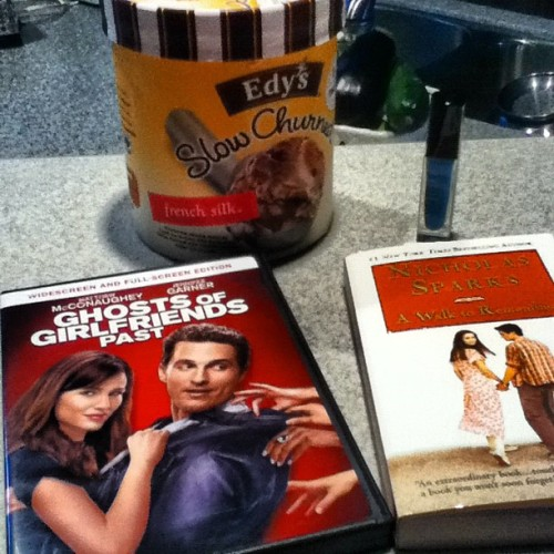#funnight ice cream, matthew mcconaughey movie, Nicholas sparks book, and nail polish, what could be better (Taken with Instagram)