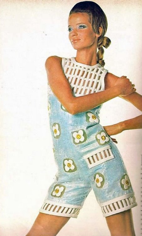 Veruschka in a plastic playsuit, 1960s,