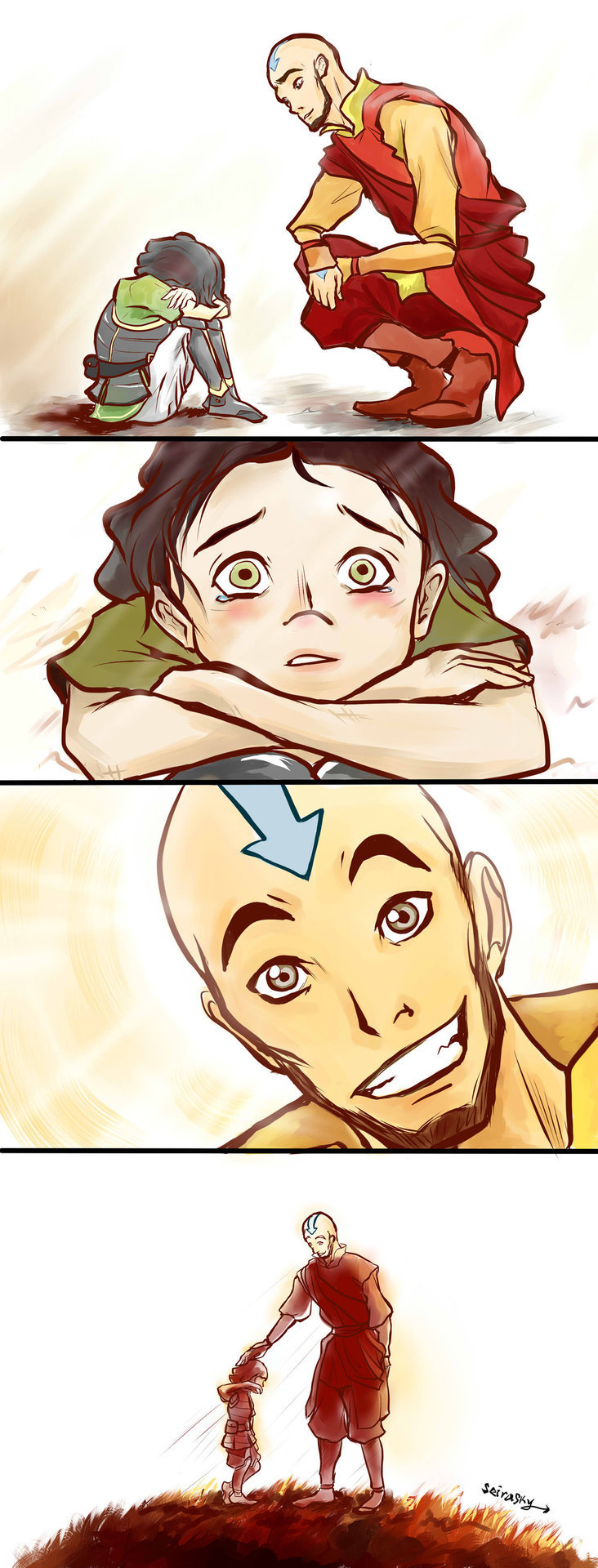 "myhyunni:  Aang and Lin by ~SeiraSky  ""Lin…? What's wrong…?"" Aang asked gently.""Ah. I see,"" he said as he listened patiently.""Sometimes… sometimes things don't go the way we want them to…But even if that should be… we still should never turn our backs to the ones who need and rely on us.""""Come on,"" Aang said with a cheerful smile.""Let's go find your mother."" I just always loved how Lin (and Asami!) keep helping those around them despite being given so many lemons in life. They're my two favorite new characters because of it and I imagined that, at least for Lin, the sentiment come from an inspiring conversation with Aang when she was young   my lin beifong feels ;________;"