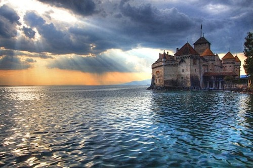 Wouldn't it be great to visit this castle, the Château of Chillon, on the shore of Lake Geneva in Switzerland?