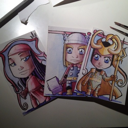 Commissioning away for Fan Expo. Here are just some pre-commissions Thor, Loki, and Elektra (Well, Elektra is a mail out).