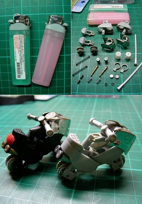 opticoverload:  Have any old lighters hanging around? Make some cool bikes out of them.   Badass