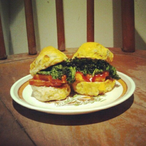 spicy bbq tofu & creole seasoned kale chips on a peachy-thyme biscuit y'all (all vegan). (Taken with Instagram)