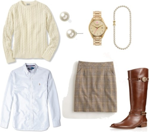 prettyinprep:  Classic Prep - Fall 2012 by prettyinprep featuring chunky watches Long sleeve top / Mini skirt / Tory Burch leather buckle boots / Kate Spade chunky watch / Lauren Ralph Lauren south sea pearl earrings / Kate Spade south sea pearl necklace / Polo Ralph Lauren Blue Striped Oxford Slim Fit Shirt