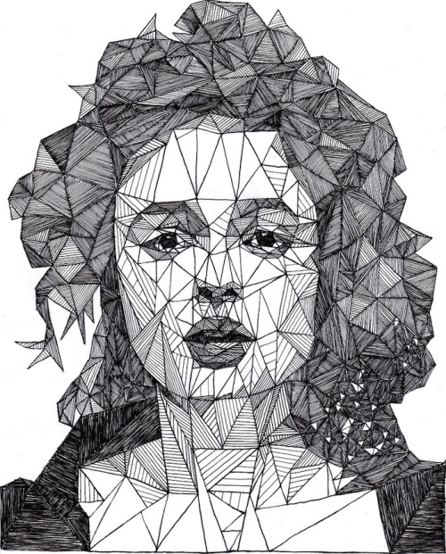 Helena Bonham Carter, pen portrait by Josh Bryan (via my modern met)