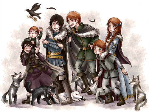 pansy25:  Stark Children by ~MiiBT BN: Aww! This is so cute! I love the Stark children! The artist even added the little direwolves. Look at Lady she is so prim and proper while Shaggy is so fierce and wild and Ghost is just there laying around so calmly!