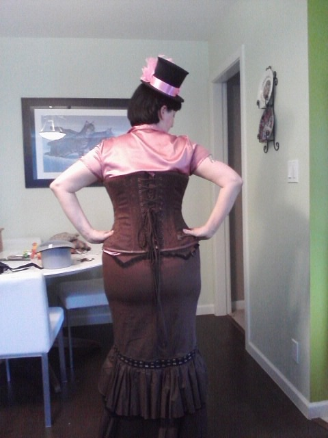 my new skirt and new hat with corset corest from Clockwork Coutre online hat from old world in gastown Skirt from deadly coutre in gastown