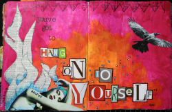 artjournaling:  Hang On To Yourself (Scrapping The Music) (by Michelle Rydell)