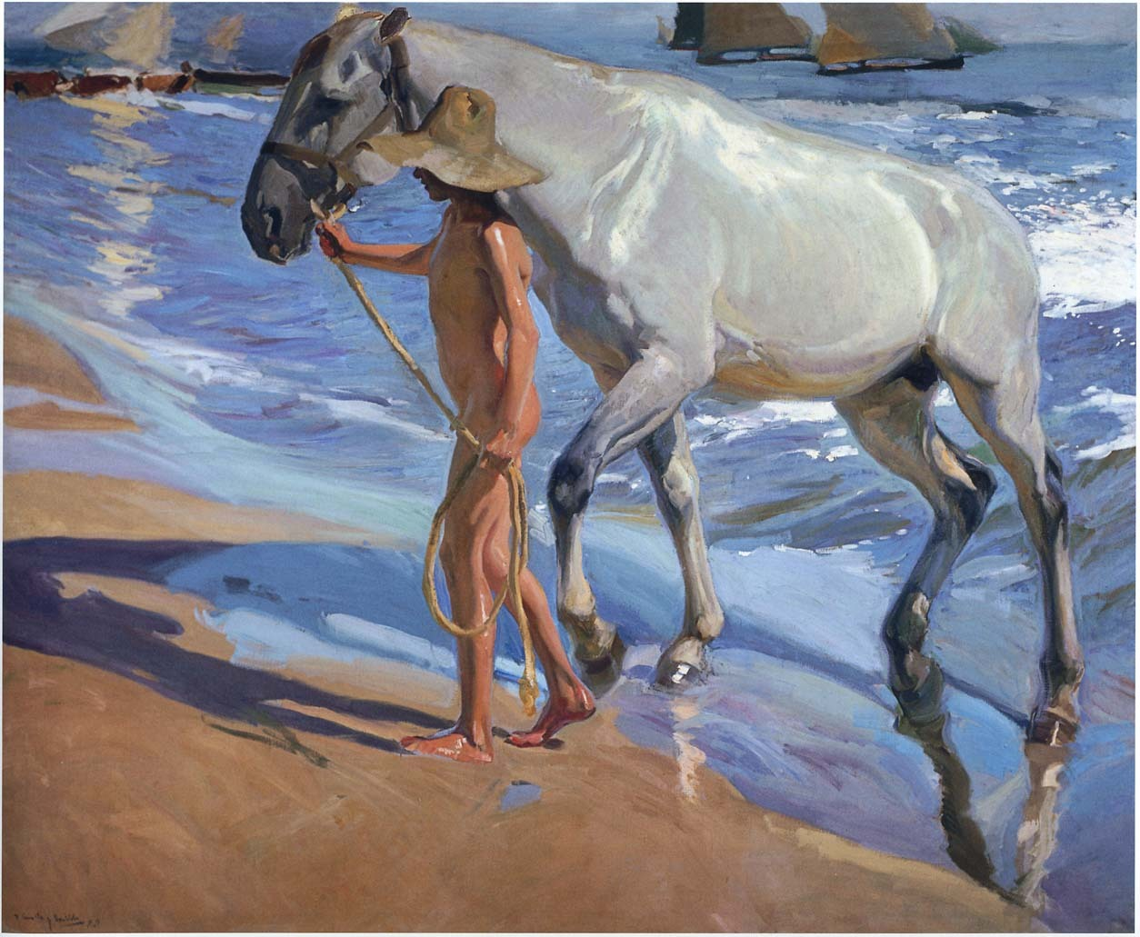 Joaquin Sorolla y Bastida [Spanish Realist/Impressionist Painter, 1863-1923] The Horse Bath, 1909 oil on canvas Museo Sorolla, Madrid (Spain)