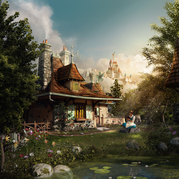 "A Disney ""Signature Image"" depicting a new section of Fantasyland in the Magic Kingdom Park at Walt Disney World, Florida. Belle reads a book at Maurice's Cottage while Beast's Castle looms in the background."