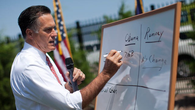 Romney Heads To The White Board To Explain… Nothing  Mitt Romney went to a white board Thursday to explain Medicare to reporters. The problem is, Romney's white board is total baloney and the reporters knew it…
