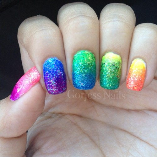 Addition of #glitter to my #rainbow #gradient #nails #nailart  (Taken with Instagram)