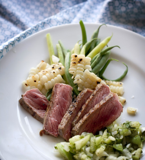 Grilled Steak with Tomatillo Sauce with recipe (link)