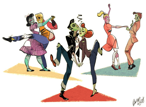 Grab your undead partner and meet me at the Zombie Sock Hop! Prints available HERE