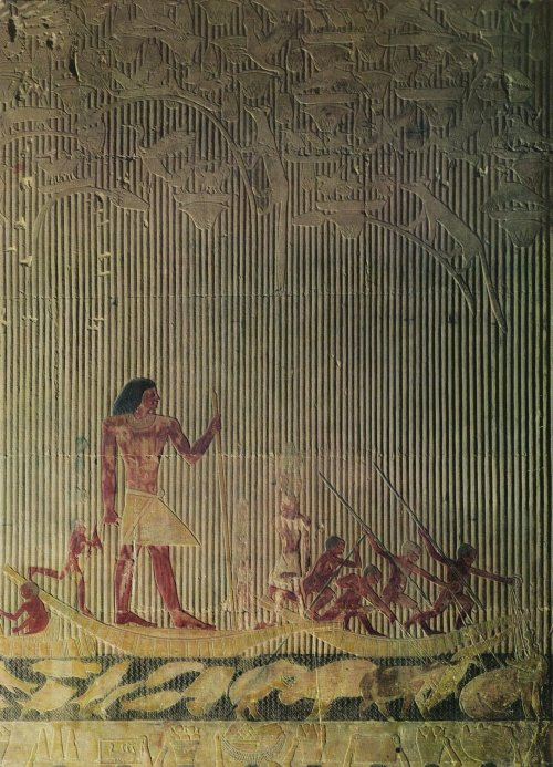ancientart:  Ti Watching a Hippopotamus Hunt, Ancient Egyptian painting from Ti's tomb, Saqqara necropolis.
