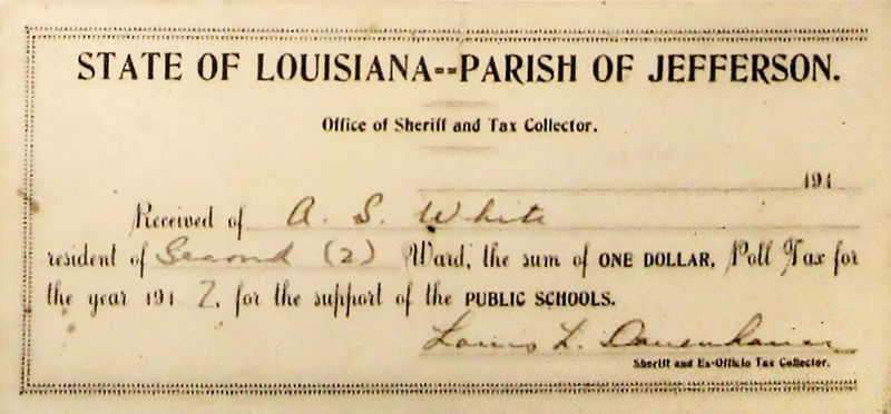 thesoapboxschtick:  This is a receipt for the payment of a Louisiana poll tax in 1917. The fee was $1 (which is equivalent to $18.14 in today's money). This tax was meant to keep recently-enrachised people of color, as well as poorer working-class folks, from voting. Poll taxes, or any voting fees for that matter, were outlawed by the 24th amendment. But the new Voter ID laws being passed by republicans are designed to do the same thing as a poll tax. They require all voters to have photo ID on them when they go to the polls. But how much does photo ID cost? Well, It depends on the state… Alabama – $23 Florida – $3 Georgia -$20 for 5 years, $35 for $10 years Indiana – $13 under 65, $10 for over 65, last for 6 years Kansas – $18 under 65, $14 over 65 Louisiana – Average $21, free for over 60 Michigan – $10, free for seniors. Mississippi – $13 Pennsylvania – $10 South Carolina – $5 South Dakota – $8 Tennessee – $12.50. For those 65 and up, they never expire Texas – $15. 60 and up, $5 and never has to be renewed *NOTE: The states in boldare where photo IDs are more expensive than the original (unconstitutional) poll taxes. And yes, I know part of the Voter ID laws are that the states are required to give out free photo ID but… Republicans are trying to keep that part of the law hush-hush. Some people (including a 95 year old woman) went to get their free ID (which they were guaranteed by law) and were still turned down. And forcing eligible-voters to go wait in the DMV for several hours is just going to further discourage people from voting, free ID or otherwise. Which is bad for America, considering we have awful voter turnout as it is.   Figures lie and liars figure is what my grandpappy used to say