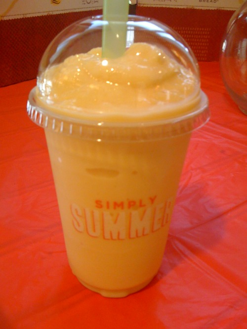 Panera Bread(Fairfax Blvd, Fairfax VA) Low-Fat Peach Nectar  Blended with organic, low-fat Stonyfield Farm® yogurt & boosted with ginseng.
