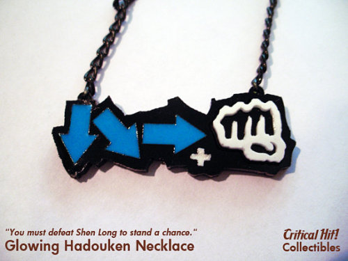 "pwnlove:  Hadouken Around Your Neck Never forget the legendarycombination from Street Fighter again because it will around your neck with this ""cheat sheet"" charm. You can even read it in the dark because it glows-in-the-dark too. Necklace by Critical Hit Shop ($14) (via otlgaming)"