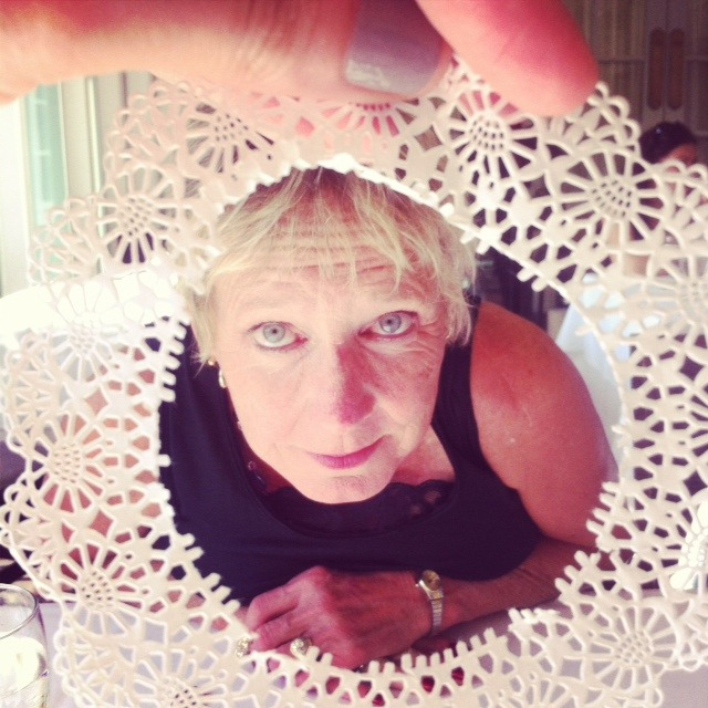 doily portraits at lunch