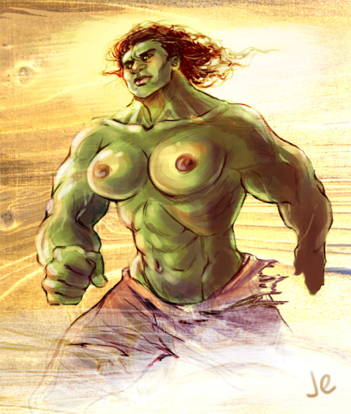 joannaestep:  WHO WANTS SOME GENDERBENT HULK???  8) …. sure, you can handwave the pants, but what bra can contain The Incredible Hulk?