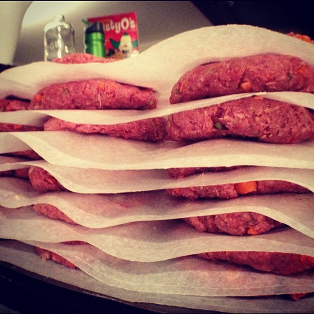 45 hand shaped hamburger patties. Mixed the old style way. ISN BBQ.  (Taken with Instagram)