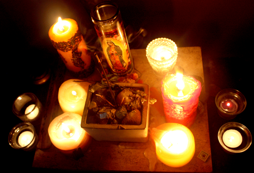 whowasntthere:  I might like candles and incense. Maybe.  Trivia: The incense holder/random ceramic pot in the center is now storing our combined collection of stones we each collected as children. We were, well.. we were odd kids.