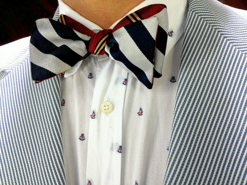 todaystie:  Kitsuné shirt and jacket - Social Primer for Brooks Brothers bow tie