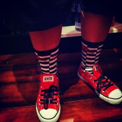 Been like this all day@work & i like it!!! #chucktaylors #crazysocks #fuckwitme #ubitchassnigga #lol #sincherry #upallnight #bayarea #imonalldayeveryday  (Taken with Instagram at Sin Cherry)