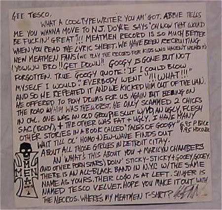 A Letter From Glenn Danzig To Tesco Vee