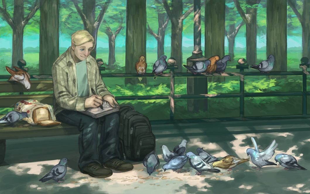 johanirae:  bananasandguavas:  steve in a park drawing pigeons. inspired by a headcanon of my sister's and some really cute pigeon feeding photos grace sent me.  THIS NEEDS TO BE PRINTED, FRAMED AND PLACED IN AN ART GALLERY