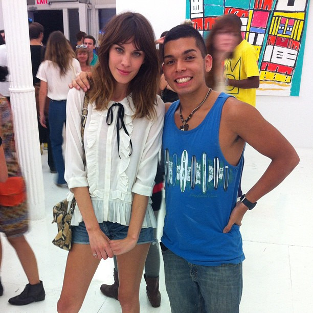Tony Cheesin and Alexa Chung at the opening of Adam Green's art exhibition