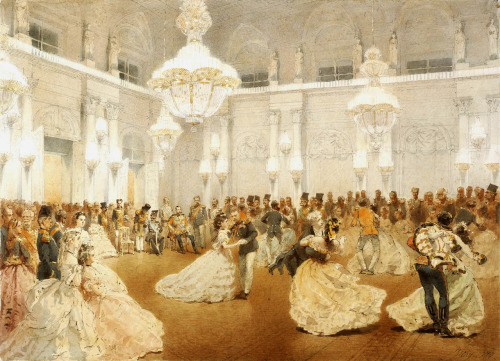 romanovillage:  A 19th century painting of the Ballroom in the Winter Palace, St. Petersburg, Russia. Tsar Alexander II can be seen sitting in the background.