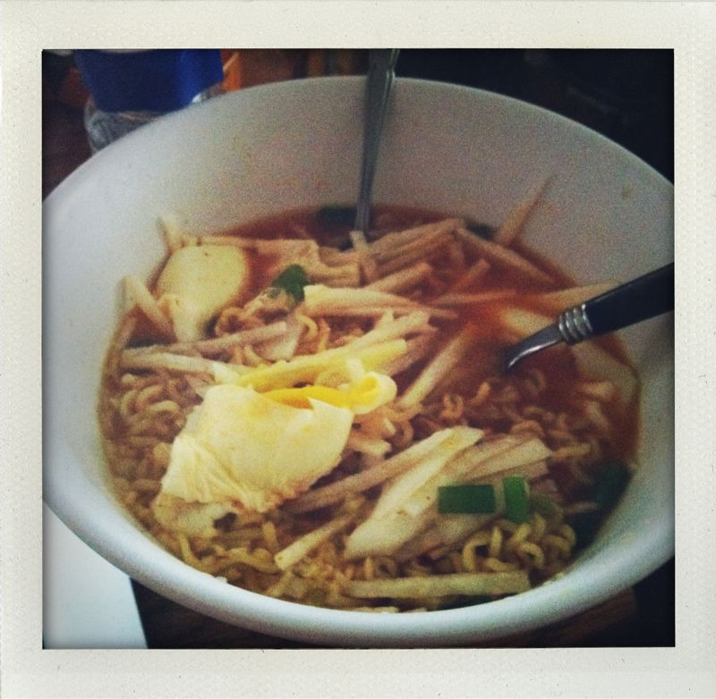 trying to sweat it out: ramen with gochujang, daikon, and a poached egg.