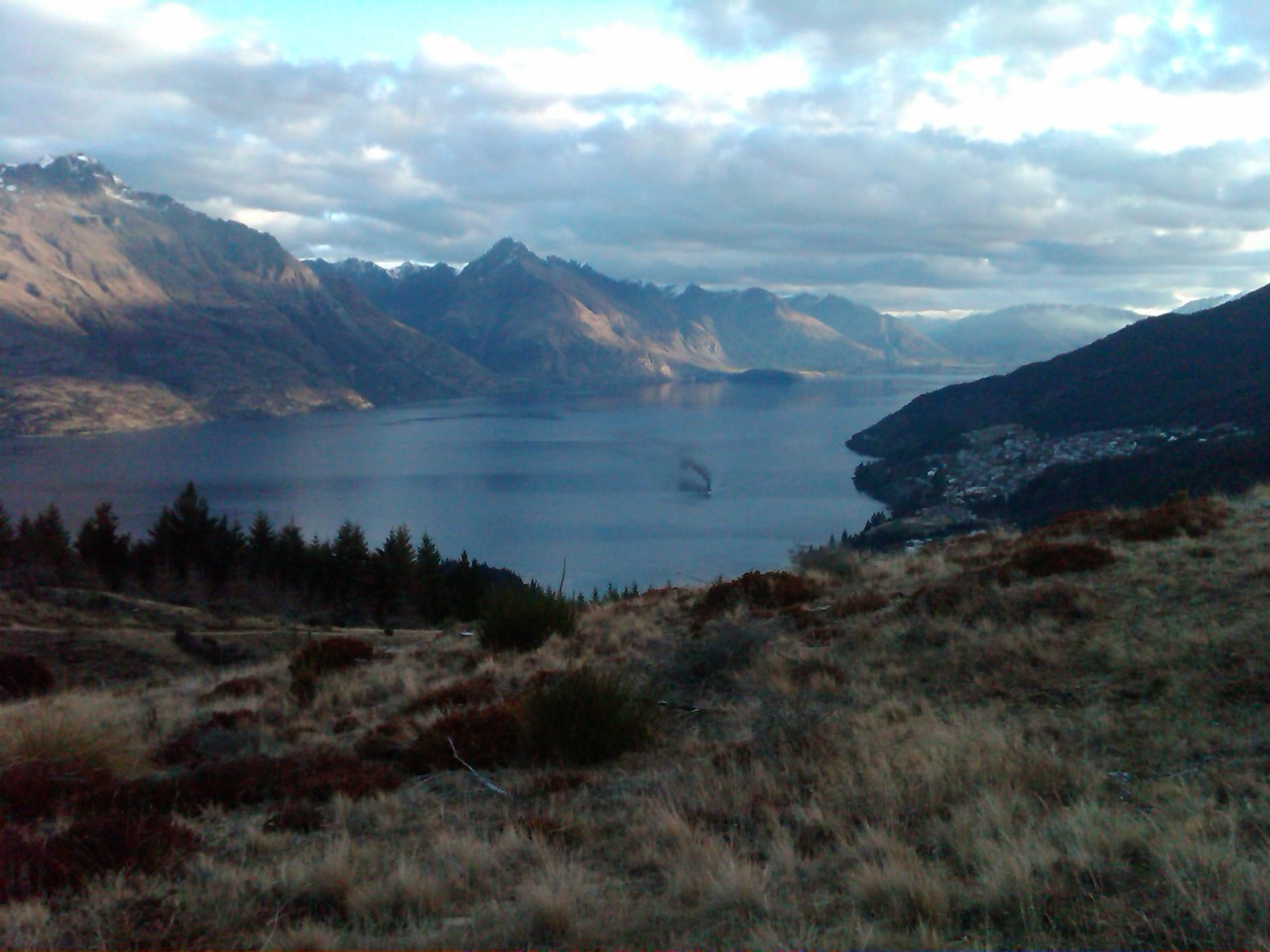 Queenstown and steamboat from Queenstown Hill { Queenstown, Otago, New Zealand }