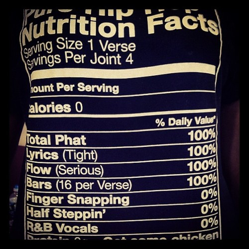 tnbcodak:  #hiphop #nutrition #facts #flow #lyrics #tight #phat #protein #gogetsomechicken (Taken with Instagram)  DOPE