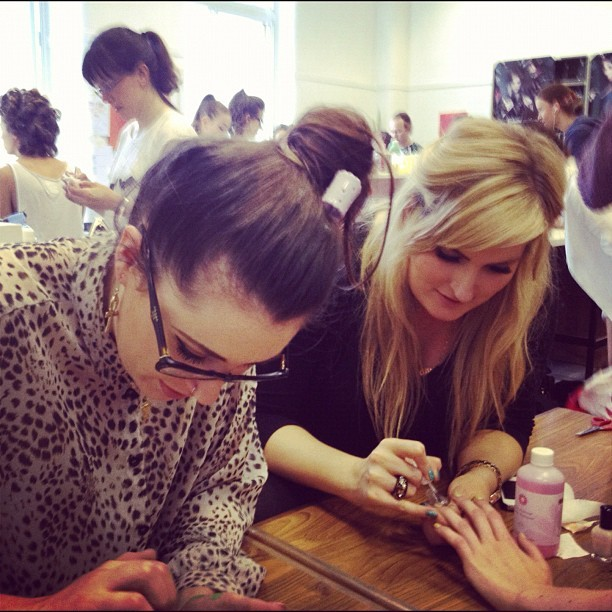 Me and @alisoncuthbert painting up a storm backstage at @edinfashion (Taken with Instagram)