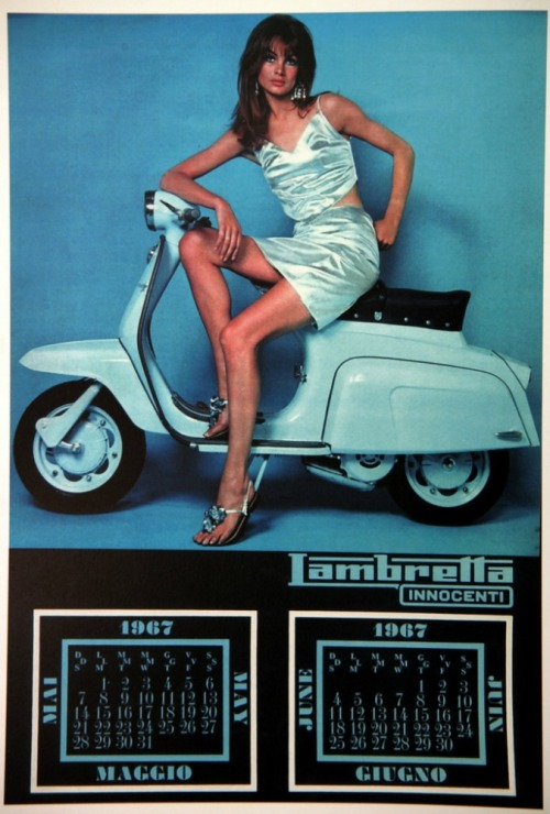Jean Shrimpton in the 1967 Lambretta calendar.
