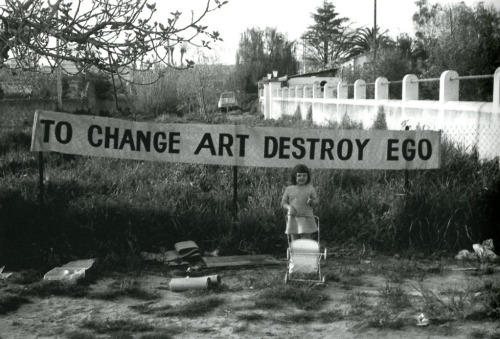 """to change art destroy ego"" by ben vautier"